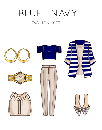 fashion set: Fashion set of womans clothes and accessories -