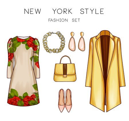 fashion set: Fashion set of womans clothes and accessories - Printed short dress, jewels, shoes, purse,, coat, Stock Photo