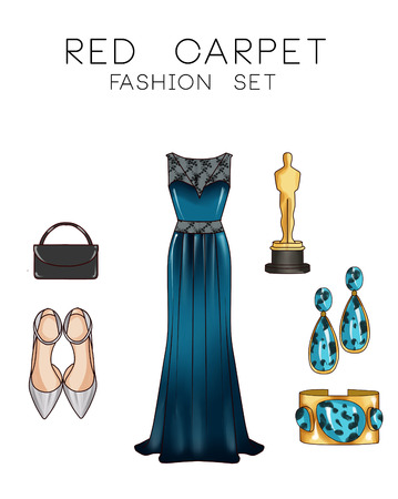 formal dress: Fashion set of womans clothes and accessories - Formal dress, shoes, jewels, purse