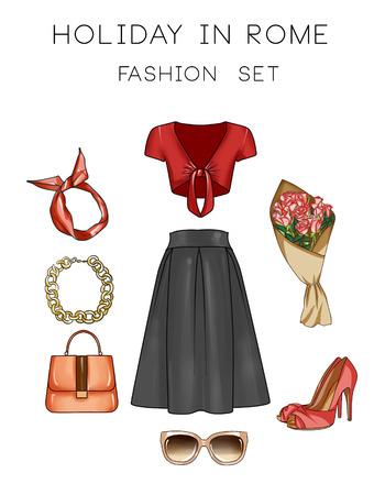 falda: Moda conjunto de ropa, accesorios y zapatos de la mujer Foto de archivo