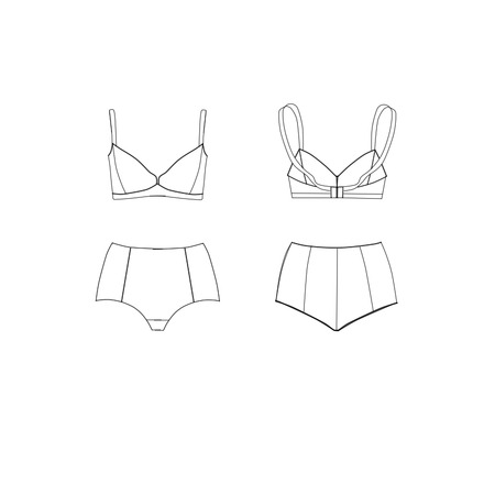 mini skirt: Flat Fashion Industrial Sketch Template - Bra and slip back and front