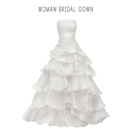 bridal gown: Illustration of white bridal gown