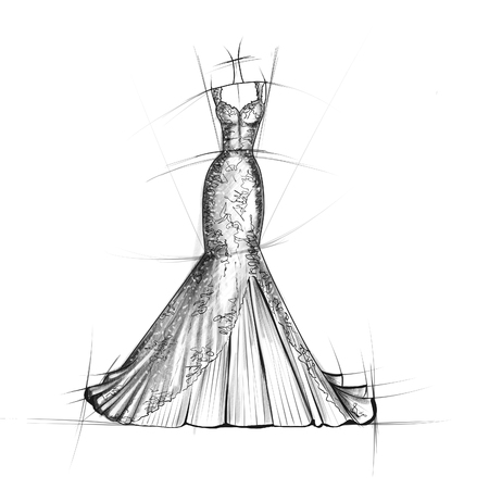 Hand Drawn Sketch Of Bridal Dress Stock Photo, Picture And Royalty ...