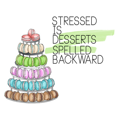 raster illustratie - gebakje citaat - citaat met dessert op witte achtergrond en groene aquarel penseelslag