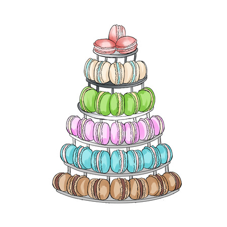 cake stand: Macaroons cake stand raster hand drawn illustration