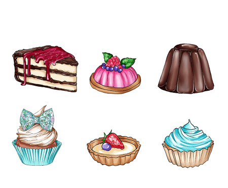 food clipart: Raster illustration with different sweet food - clipart collection