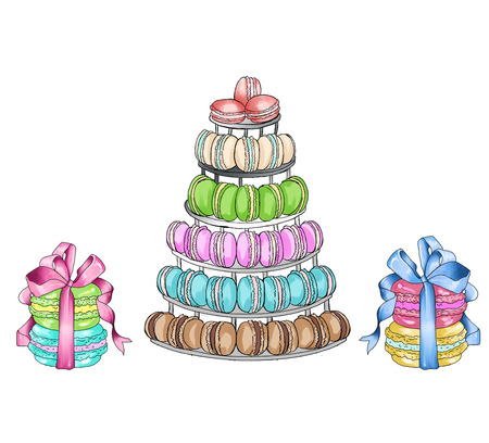 raster illustration: Raster illustration with different sweet food - clipart collection
