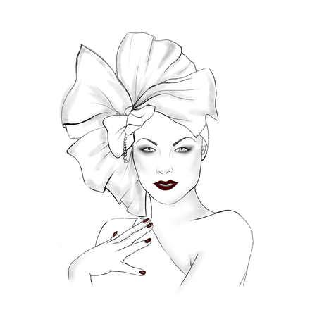 famous actress: Hand drawn fashion Illustration - Elegant woman Portrait Stock Photo