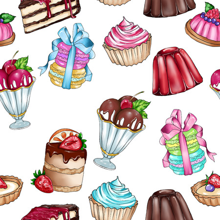 backing: Raster seamless background with variety of sweet food - pastry - cakes
