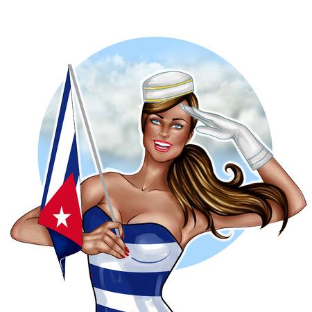 cuba girl: Digital hand drawn Illustration - Pin Up girl Holding Cuba Flag