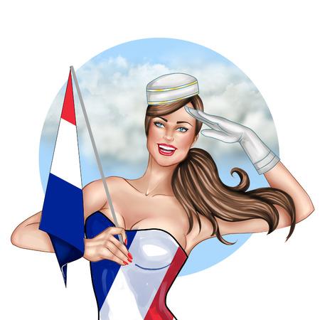 Digitale Hand gezeichnet Illustration - Pin Up Mädchen Holding France Flagge