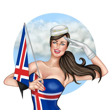 iceland flag: Digital hand drawn Illustration - Pin Up girl Holding Iceland flag