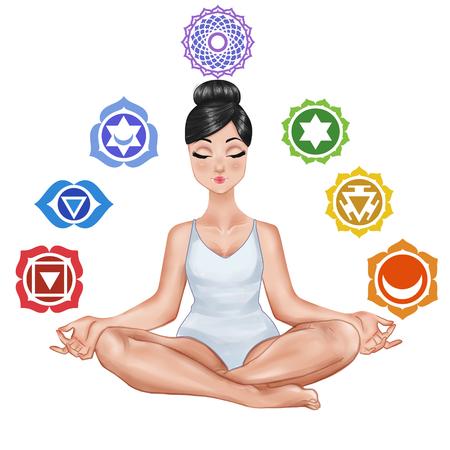 Raster Illustratie - Meisje zitten in een yoga positie en chakra op een witte achtergrond Stockfoto