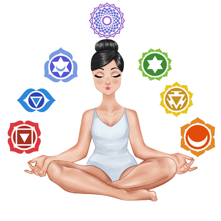 Raster Illustration - Girl sitting in a yoga position and chakras on white background
