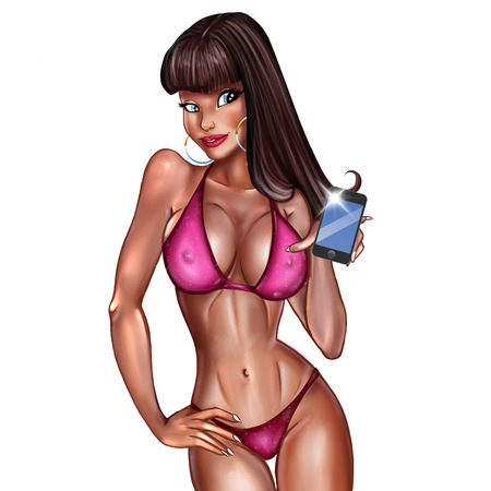 Cartoon character of a sexy girl taking selfies