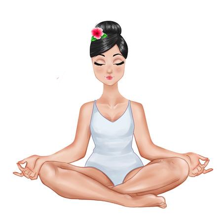 Raster Illustration - Girl sitting in a yoga position Stock Photo