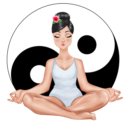 tao: Raster Illustration - Girl sitting in a yoga position with ying and yang symbol on white background Stock Photo