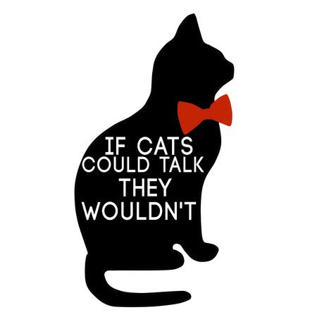 Silhouet van de zwarte kat en offerte op een witte achtergrond