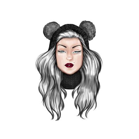 Digitale illustratie - karakter van het beeldverhaal van een meisje met hoed Stockfoto