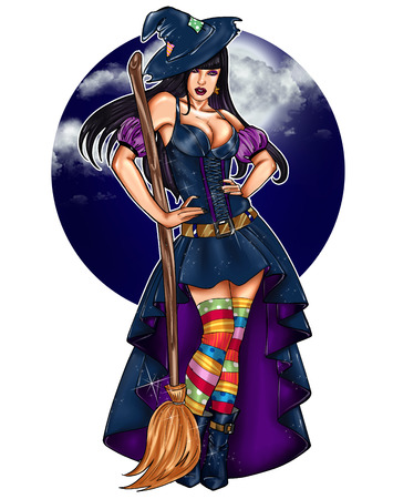 Illustration of pin up dressed up as a witch - Epiphany -