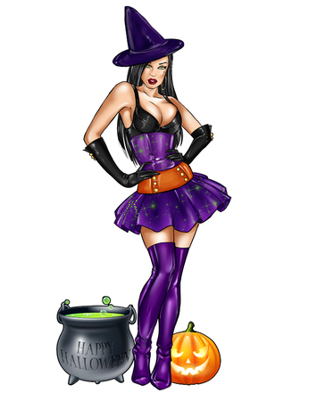 Illustratie van geïsoleerde pin up verkleed als heks van Halloween
