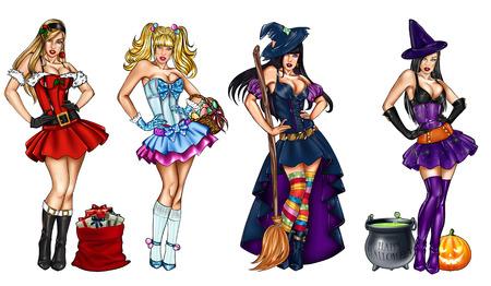 Illustratie van pin ups verkleed voor feest - Kerst, Driekoningen, Pasen, Halloween - Raster illustratie Stockfoto