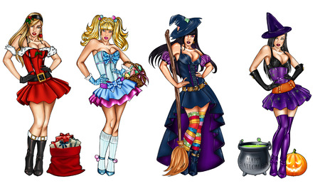 christian halloween: Illustration of pin ups dressed up for festivity - Christmas, Epiphany, Easter, Halloween - Raster illustration Stock Photo