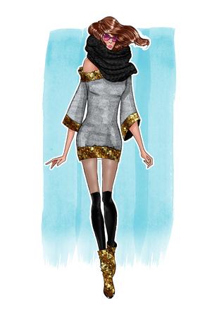 Illustratie van de mode van meisje in trendy kleding