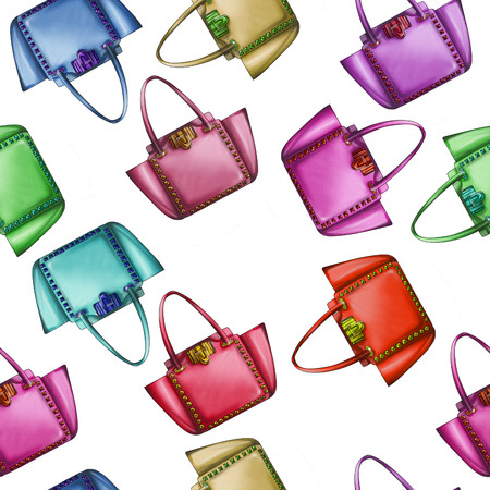 Naadloos Patroon - All Over achtergrond - Aquarel modeontwerper tas Stockfoto