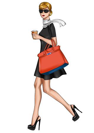 Illustratie van een meisje lopen met een KOP VAN KOFFIE
