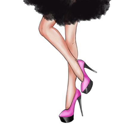 Waterverf handgetekende mode Illustratie van dansende benen