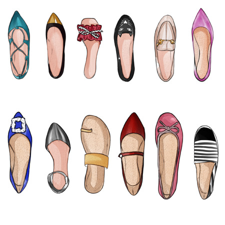 Waterverf handgetekende illustratie - collectie set aquarel schoenen