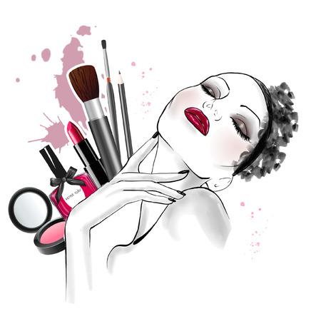 背景 - ライン アート スケッチ - を作るの種類と女性顔の描かれたスケッチに手美人図