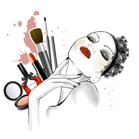 Hand getekende schets van vrouw gezicht met verschillende soorten make-up op achtergrond - lijn kunst schets - mooie vrouw illustratie Stockfoto