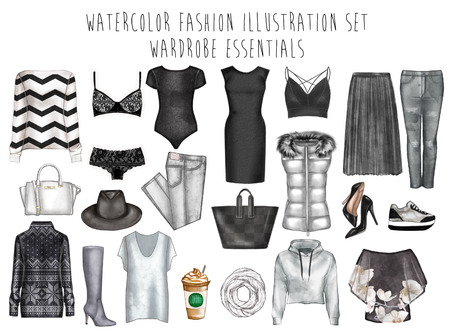 Digital watercolor illustration - watercolor fashion clip art set - Wardrobe essentials - Woman Apparel - Flat fashion sketch
