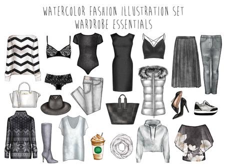 Digitale aquarel illustratie - aquarel mode clip art set - Garderobe essentials - Vrouwenkleding - Flat mode schets