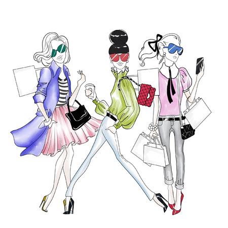 Hand getekende illustratie - Mooie mode meiden doen winkelen