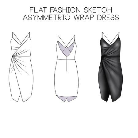 Platte mode technische schets - Asymmetrische wrap jurk Stockfoto