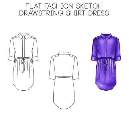Platte mode technische schets - Drawstring korte jurk