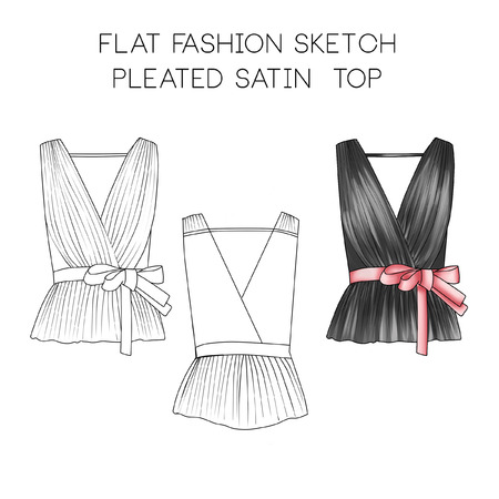 hem: Flat fashion technical sketch - Pleated satin top