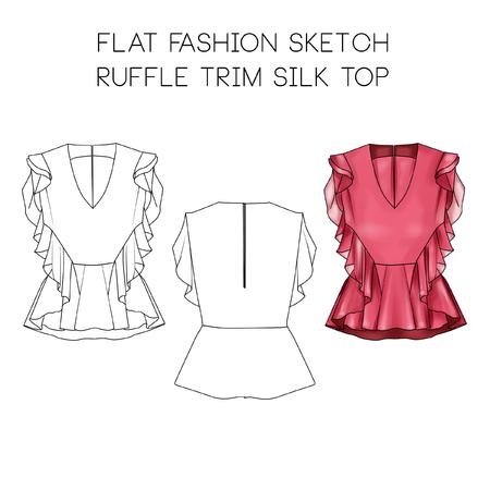 Platte mode technische schets - Ruffle trim top