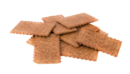 crackers: Salty crackers isolated Stock Photo