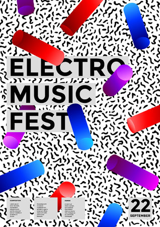 Electronic music festival poster modern geometric background. 3d gradient shapes composition.Vector template design for flyer, presentation, brochure, app, poster, invitation, card. Illustration