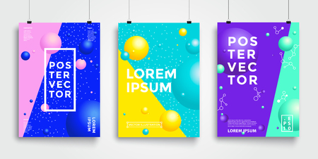 Poster with flat geometric pattern. Cool colorful backgrounds. Applicable for Banners, Placards, Posters, Flyers. Eps 10 Vector template