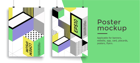 Poster with colorful cubes. Trendy backgrounds. Applicable for Banners, Placards, Posters, Flyers. Eps 10 Vector template