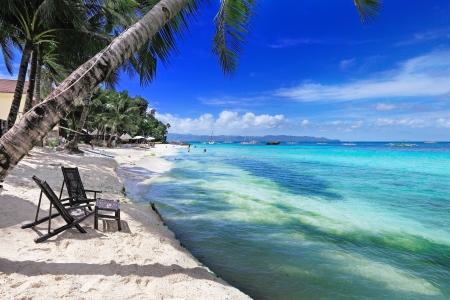 boracay: Tropical island sea and sky beautiful blue coast paradise island Stock Photo