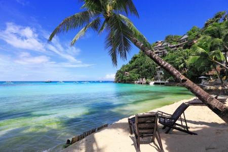 Tropical island sea and sky beautiful blue coast paradise island Stock Photo