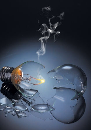 incandescent: Bursting incandescent light bulb