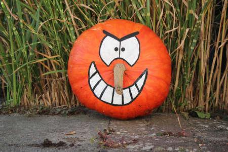 Halloween Pumpkin / Painted Pumpkin - mean nasty character Standard-Bild