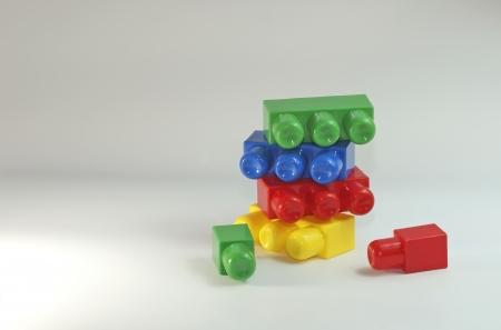 Een stapel van kleurrijke plastic bouwstenen